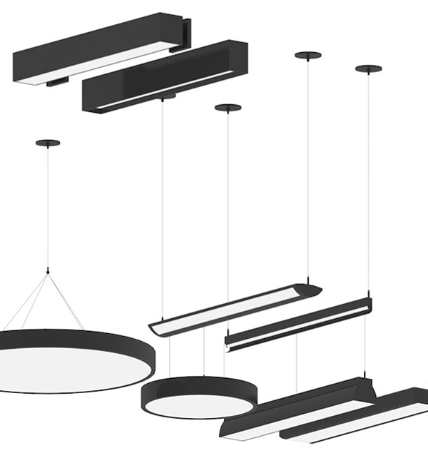 Rendering of items available in Prudential Lighting library